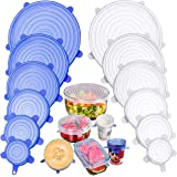 BANGASHIAN Silicone Stretch Lids, FDA Approved BPA Free, Pack of 12, 2.6 inches-8.1 inches, Eco-Friendly, Easy to Use and Cle