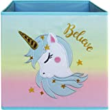 Lovely Little Things Unicorn Storage Bins Foldable - Toy Box Collapsible Cube - Boxes for Shelves - Box Storage Decorative -