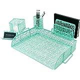 Blu Monaco Office Supplies Mint Green Desk Organizers and Accessories-5 Piece Cute Desk Organizer Set-Letter Tray-Pen Cup-Sti