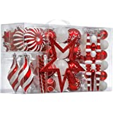 Valery Madelyn 100ct Traditional Shatterproof Christmas Ball Ornaments Red and White with Tree Topper, Christmas Tree Ornamen