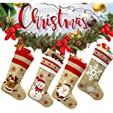 """CHIN FAI Christmas Stockings for Family 4 Pack 18.5"""" Large Size Burlap Christmas Stockings, Santa Snowman Reindeer Snowflake"""