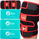 TOUGHITO Knee Ice Pack Wrap - 4 in 1 Knee Pain Relief Brace for Joint Pain, Bursitis Pain Relief, Knee Injury, Arthritis, Men