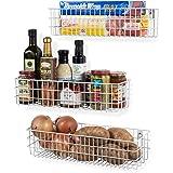 Wall35 Kansas Wall Mounted Kitchen Storage Metal Wire Fruit Basket Varying Sizes Set of 3 Black (White)