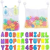 Comfylife 2 x Mesh Bath Toy Organizer + 6 Ultra Strong Hooks + 36 Bath Letters & Numbers – Eco-Safe, Fun, Educational Foam Ba