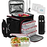 A2S Complete Meal Prep Lunch Box - 8 Pcs Set: Cooler Bag 3X Portion Control Bento Lunch Containers Leakproof 3 Compartments M