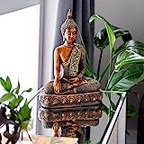 "Benzara Polystone Buddha Sculpture, 44125, Polyresin, Textured Bronze Finish, 15 by 12"""
