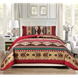 Rugs 4 Less Western Southwestern Native American Tribal Navajo Design Oversize Quilted Bedspread in Brown Green and Burgundy