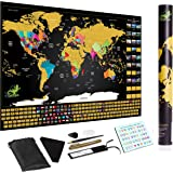Scratch Off World Map Poster Deluxe Includes Complete Accessories Set All Country Flags Premium Wall Art for Travelers Tool a