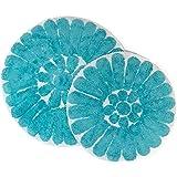 """Chesapeake Merchandising Bursting Flower 2-Piece Bath Rug Set, White/Coral, White/Aqua, 24"""" Round 30"""" Round"""