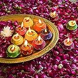 TiedRibbons Diwali Diya with Wax Set of 10(Multicolor, Clay) -Diwali Outdoor Lights and Decoration - Handmade Earthen Diyas f