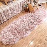Ultra Soft Faux Fur Sheepskin Pink Bedside Rug Area Rug Indoor Fluffy Shag Washable Rug for Bedroom Floor Sofa Living Room