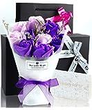 ソープフラワー 花束 プレゼント ギフト 誕生日 母の日 メッセージカード付き(パープル)