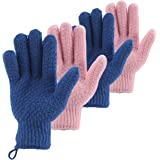 CLEEDY Bath Exfoliating Gloves Scrub - 4 pcs Lengthened and Large Exfoliating Scrubbing Gloves for Shower, Spa, Massage - Scr