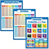 """3 Pack - Multiplication Tables Poster + Division + Kids Calendar Chart (Laminated, 18"""" x 24"""")"""
