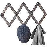 MyGift 10-Hook Rustic Gray Wood Expandable Accordion Peg Coat Rack Hanger