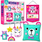 KRAFUN Beginner My First Sewing Kit for Kids Art & Craft, Includes 6 Easy Projects Stitch Stuffed Animal Dolls and Plush Craf