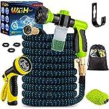 Topidex Car Wash Kit, Expandable Garden Hose 50 FT - with High Pressure Spray Nozzle - Soap Dispensing Sprayer Gun - 9 Spray
