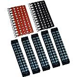 5 Pcs Dual Row 12 Position Screw Terminal Strip 600V 15A + 400V 15A 12 Postions Pre Insulated Terminal Barrier Strip Red/Blac