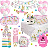 ecoZen Lifestyle Ultimate Unicorn Party Supplies and Plates for Girl Birthday | Best Value Unicorn Party Decorations Set for