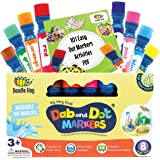 WASHABLE | Dab and Dot Markers | 8 Colors Pack Set | Includes 200+ Fun Downloadable Coloring Sheets | Fun Art Supplies for ki