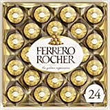 Ferrero Rocher Fine Hazelnut Milk Chocolate, 24 Count, Chocolate Christmas Candy Gift Box, 10.5 oz, Perfect Stocking Stuffers