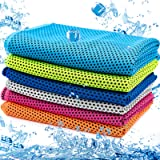 MENOLY 6 Pack Cooling Towel, Ice Towel Microfiber Towel Soft Breathable Chilly Towel for Sports, Gym, Yoga, Workout, Camping,