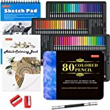 80 Colors Professional Colored Pencils, Shuttle Art Soft Core Pencil Set with 1 Coloring Book,1 Sketch Pad, 2 Sharpener, 1 Pe