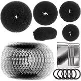 Black hair bun maker Donut bun and hair nets