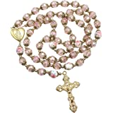 Nazareth Store Catholic Pink Crystal Beads Gold Rosary Flowers Beaded Necklace Holy Mary Heart Locket Medal & Cross Religious