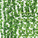 CEWOR 14 Pack (79 Inches Each) Fake Ivy Leaves Artificial Ivy Leaves Greenery Garlands Hanging Plant Vine with 50 Green Nylon