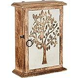 Key Holder for Wall Decorative | Wall Mount Tree of Life Engraved Key Holder Organizer | Wood Key Holder for Wall Rustic | Li