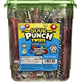 Sour Punch Twists 4 Flavor Individually Wrapped Sweet & Sour Candy with Blue Raspberry punch sour, 41.6 Oz