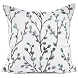 YOUR SMILE Embroidery Jacquard Flower Square Decorative Throw Pillow Case Cushion Cover 18x18, Polyester & Polyester Blend, T