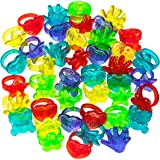 Plastic Glitter Rings - (144 Piece Bulk) Assorted Colors and Designs, Small Toys for Prizes, Birthdays, Carnival Prizes, Trea