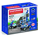 Magformers 717002 Amazing Police 50Piece, Wheels, Blue Red Colors, Educational Magnetic Geometric Shapes Tiles Building STEM