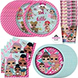 (Standard - Serves 16) - LOL Doll Birthday Party Supplies Set - Dinner and Cake Plates, Cups, Napkins, Decorations (Standard