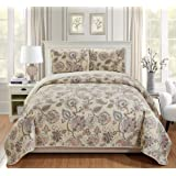 Home Collection 3pc King/California King Bedspread Quilt Set Floral Beige Pink Blue Taupe Green Flowers Leaves Over Size New