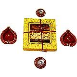 Diwali Gifts - Dry Fruits Box with 4 Fancy Diyas