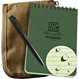 """Rite in the Rain Weatherproof 4"""" x 6"""" Top Spiral Notebook Kit: Tan CORDURA Fabric Cover, 4"""" x 6"""" Green Notebook, and an Weath"""
