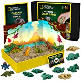 NATIONAL GEOGRAPHIC Dinosaur Play Sand - 907g of Play Sand, 6 Moulds, 6 Dinosaur Figures, A Kinetic Sensory Sand Activity Kit