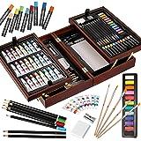 VigorfunDeluxeArtSetinWoodenCase,withSoft&OilPastels,Acrylic&WatercolorPaints,WaterColor,Sketching,Charcoa