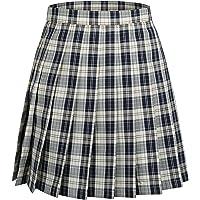 Enmain プリーツスカート チェック柄 ミニ スクールスカート ウエスト調節可能 ポケット付き 制服 女子高校生 可…