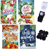 Seasonal Garden Flags - Outdoor Yard Flag Set with Flag Holders - 18 Inch x 12 Inch Double Sided - Weather Resistant - Ideal