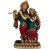 Purpledip Radha-Krishna Brass Metal Statue Idol With Gemstones For Home Temple, Office Table or Shop Mandir Puja Shelf | Hind