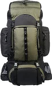 Amazonベーシック ハイキング バックパック インターナルフレーム レインフライ付属 55L グリーン