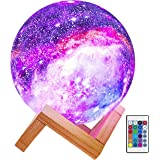 Fistech 3D Printing Galaxy Night Lamp with Wooden Stand, 15cm 16 Colors LED Rechargeable Star Moon Lamp with Remote & Touch C