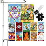 Seasonal Garden Flag Set of 10 - 12 x 18 Inch Yard flag Decorations Double Sided Banner For Outdoor Porch With Garden Flag Ho