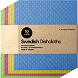 Swedish Dishcloth Cellulose Sponge Cloths - Bulk 10 Pack of Eco-Friendly No Odor Reusable Cleaning Cloths for Kitchen - Absor