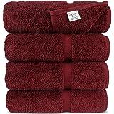 Luxury Hotel & Spa Towel 100% Genuine Turkish Cotton (Bath Towel - Set of 4, Cranberry)
