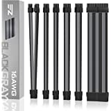 EZDIY-FAB Sleeved Cable - Cable Extension for Power Supply with Extra-Sleeved 24-PIN 8-PIN 6-PIN 4+4-PIN with Combs- Black Gr